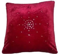 "DIAMANTÉ VELVET DESIGNER FILLED CUSHION BURGUNDY COLOUR LARGE SIZE 22"" x 22"""